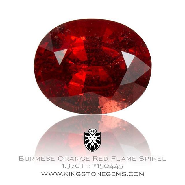 Second of three new red spinels just in. This is an outstanding orange red flame spinel from Burma, 1.37ct, 7.5x6x4.28mm, #150445. Beautiful and intensely colored,  a wonderful stone. Available for sale.  http://www.kingstonegems.com/fine-loose-coloured-gemstones/burmese-orange-red-flame-spinel-oval-150445/  WWW.KINGSTONEGEMS.COM  SYDNEY CBD AUSTRALIA - Precision Gemcutting and Lapidary Services Located In Sydney Australia