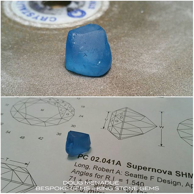 Starting on a vivid electric blue topaz 'supernova'. I love the rich color of this material,  it really comes up a treat and is nice and bright.  WWW.BESPOKE-GEMS.COM  WWW.KINGSTONEGEMS.COM  SYDNEY CBD AUSTRALIA - Precision Gemcutting and Lapidary Services Located In Sydney Australia