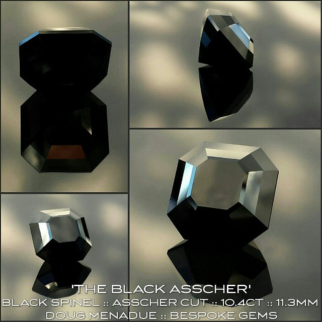 'THE BLACK ASSCHER' :: BLACK SPINEL :: ASSCHER CUT :: 10.4 CT :: 11.3 MM :: glossy, lustrous... mysterious.  WWW.BESPOKE-GEMS.COM - Precision Gemcutting and Lapidary Services Located In Sydney Australia