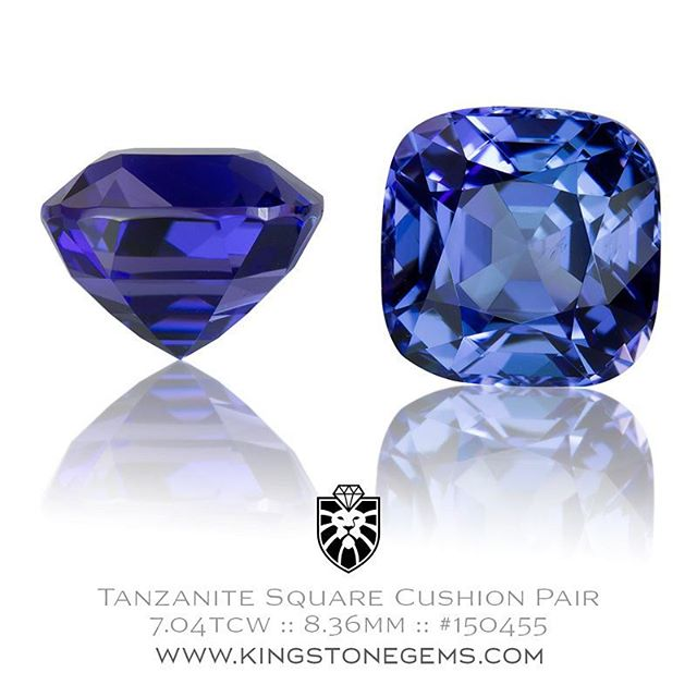 Tanzanian tanzanite is without doubt one of the most beautiful gemstones in the Mineral Kingdom. The rich intense blue and purple hues are magnificent and reminds me of the best grade lapis lazuli, that amazing midnight blue but with brilliance and flash. Here presented is a pair of very well matched tanzanite square cushions, the details for each stone are :  1) 8.36×8.41×6.24mm = 3.51ct 2) 8.36×8.40×6.32mm = 3.53ct  They have been precision cut and are both exceptional stones. The pavilion is in the Asscher Cut style with a Brilliant style cushion crown. Quite frankly, they look amazing. They are both eye clean though under a loupe one does have a very tiny veil in the pavilion, it doesn ��t detract from the overall beauty at all, it ��s pretty much impossible to see. The colour is a very good medium-dark blue with some violet highlights. � One has just a touch more violet in it then the other but it ��s very minimal, and once set in earrings you ��d be very very hard pressed to pick any difference. Tanzanite is notorious for matching colour exactly so finding two so well matched is a rare thing, especially given the quality of the precision cutting and in a square cushion design.  This pair of tanzanite gems is a very special offering and are of the best quality. A very fine matched pair of Tanzanites.  http://www.kingstonegems.com/fine-loose-coloured-gemstones/tanzanian-tanzanite-square-cushion-150455/  WWW.KINGSTONEGEMS.COM  SYDNEY CBD AUSTRALIA - Precision Gemcutting and Lapidary Services Located In Sydney Australia