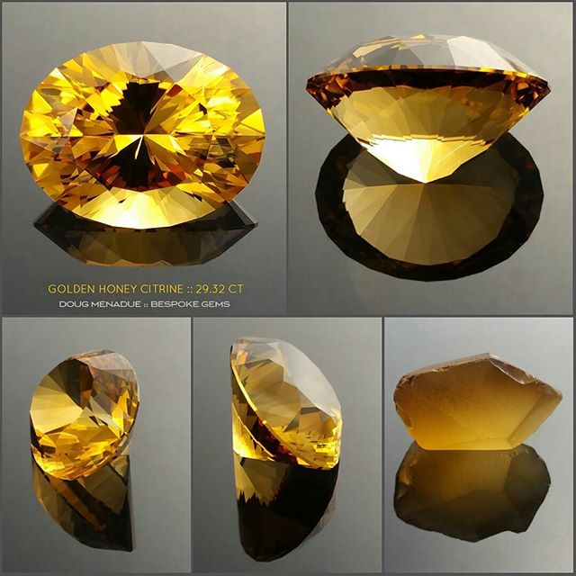 That 29.32 carat golden honey citrine from different angles plus a pic of the original rough stone from whence it came.  Love the glow of this gem.  DOUG MENADUE  WWW.BESPOKE-GEMS.COM - Precision Gemcutting and Lapidary Services Located In Sydney Australia