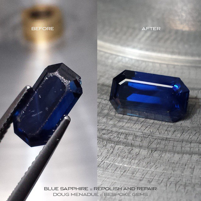 This poor old Sapphire had seen better days.  It came to me worn and chipped but will be leaving fresh and crisp.  To all you jewellers out there in Sydney I'm just across the road in the King George Chambers, Lv 4, 375 George St. So bring me your tired and your worn... :-) WWW.BESPOKE-GEMS.COM :: 0408064190 :: SYDNEY :: AUSTRALIA - Precision Gemcutting and Lapidary Services Located In Sydney Australia