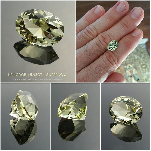 This wonderful gem is a nice bright lemon greenish yellow heliodor from Nigeria, 5.93 carats, 13.47x9.68x8.97mm. I have faceted this gem in one of my favorite oval designs, the Supernova. It is a very good design and suits this heliodor well. The colour of the gem in real life is a little more yellow then the pictures suggest. It is clean except for a few very fine silver needles which again in real life are hard to spot. I really like this gem, the colour and the design all combine to create a truly beautiful heliodor gemstone.  DOUG MENADUE  WWW.BESPOKE-GEMS.COM - Precision Gemcutting and Lapidary Services Located In Sydney Australia