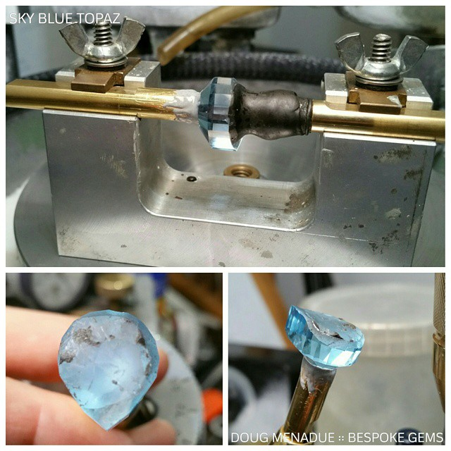 Time to start on the crown. The colour of this sky blue topaz is looking really amazing.  WWW.BESPOKE-GEMS.COM  SYDNEY :: AUSTRALIA - Precision Gemcutting and Lapidary Services Located In Sydney Australia