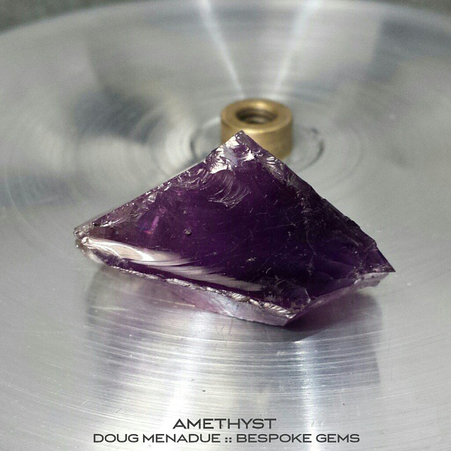 Today's mission... Turning this big chunk of amethyst into a beautiful bespoke gem. Aiming for a 17mm 'Trouble with Tribbles'. WWW.BESPOKE-GEMS.COM - Precision Gemcutting and Lapidary Services Located In Sydney Australia