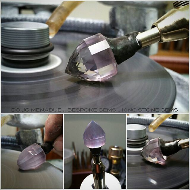 Working away on this nice big piece of rose de France Amethyst. It's coming along nicely... lots of facets. :-) WWW.BESPOKE-GEMS.COM  WWW.KINGSTONEGEMS.COM - Precision Gemcutting and Lapidary Services Located In Sydney Australia