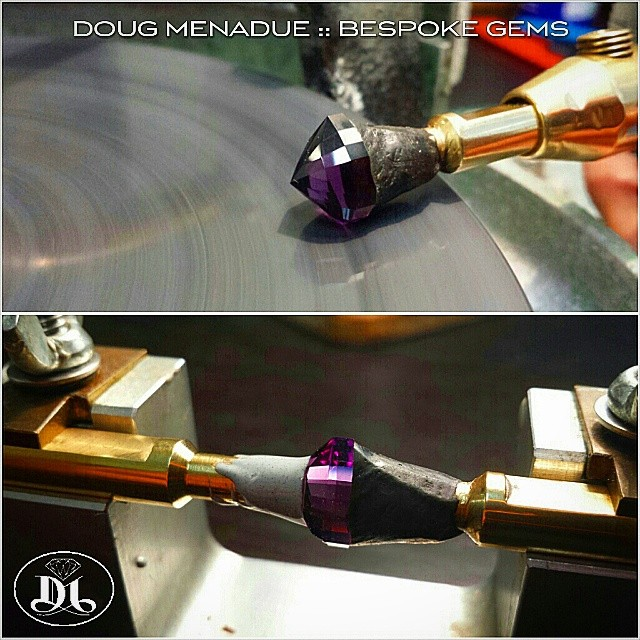 Working on a gorgeous piece of amethyst... this is going to be one of my all time favorite pear designs,  the  UTOPIA PEAR.  WWW.BESPOKE-GEMS.COM - Precision Gemcutting and Lapidary Services Located In Sydney Australia
