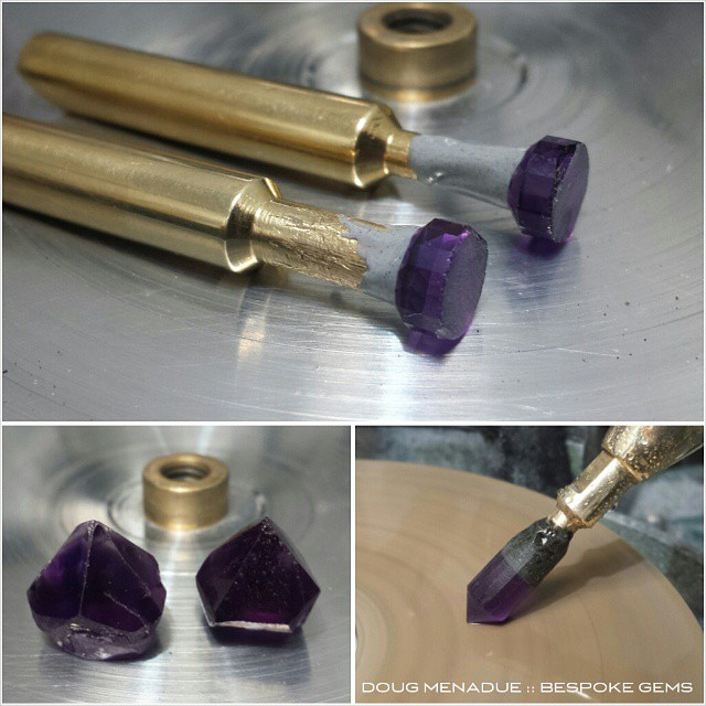 Working on a lovely little pair of matched amethysts. These will be very pretty stones when finished.  WWW.BESPOKE-GEMS.COM - Precision Gemcutting and Lapidary Services Located In Sydney Australia
