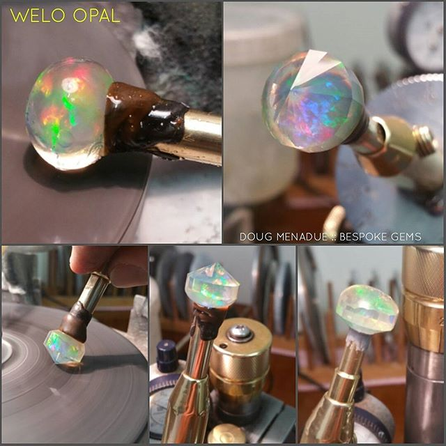 Working on the welo opal. The colors inside this gem are beautiful and mesmerising.  The design is going to be the 'Kalli' design by the late Jeff Graham with 169 facets. It's a fantastic 'dome' style design and one of my favorites to cut.  DOUG MENADUE  WWW.BESPOKE-GEMS.COM - Precision Gemcutting and Lapidary Services Located In Sydney Australia