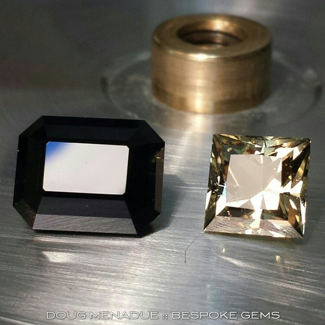Yesterday's labours, a nice big black spinel EMERALD CUT and a sweet little citrine PRINCESS CUT.  In the hand,  the colour of the citrine looks like a yellow diamond.  WWW.BESPOKE-GEMS.COM - Precision Gemcutting and Lapidary Services Located In Sydney Australia
