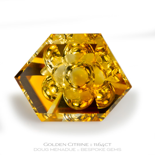#1160, Golden Citrine, Fantasy Cut (with Emoji), 11.64 Carats,  18.78x14.06x7.61mm, Golden Yellow - A beautiful Golden Citrine from Brazil - Doug Menadue :: Bespoke Gems :: WWW.BESPOKE-GEMS.COM - Finest Quality Precision Custom Gemcutting and Lapidary Services Based In Sydney Australia