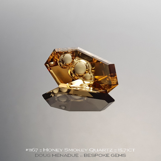 #1167, Honey Smokey Quartz, Fantasy Cut, 15.71 Carats,  24.09x13.35x8.38mm, Golden Honey Smokey - A beautiful Honey Smokey Quartz from Brazil - Doug Menadue :: Bespoke Gems :: WWW.BESPOKE-GEMS.COM - Finest Quality Precision Custom Gemcutting and Lapidary Services Based In Sydney Australia