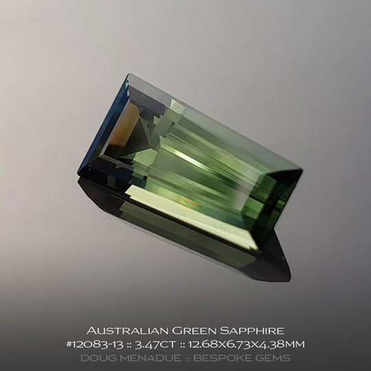 12083-13, Australian Sapphire, Tapered Baguette, 3.47 Carats, 12.68X6.73X4.38mm, Green - A beautiful natural Australian Sapphire from the gemfields around Rubyvale, Central Queensland, Australia - Doug Menadue :: Bespoke Gems :: WWW.BESPOKE-GEMS.COM - Finest Quality Precision Custom Gemcutting and Lapidary Services Based In Sydney Australia
