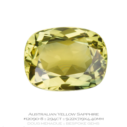 #12090-8, Yellow Sapphire, Rectangle Cushion, 2.94 Carats - A beautiful natural Rubyvale, Central Queensland, Australian Sapphire - Doug Menadue :: Bespoke Gems - WWW.BESPOKE-GEMS.COM - Precision Gemcutting and Lapidary Services In Sydney Australia