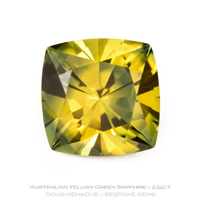 Yellow Green Parti Colour Sapphire, Square Cushion, Rubyvale, Central Queensland, Australia, 2.34 Carats, 7X7X5.2mm, #12112-21, A beautiful natural Yellow Green Parti Colour Sapphire from the Australian sapphire gemfields. Doug Menadue :: Bespoke Gems :: WWW.BESPOKE-GEMS.COM - Finest Precision Custom Gemcutting Based In Sydney Australia