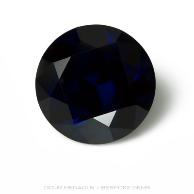 Blue Sapphire, Round Brilliant, Rubyvale, Central Queensland, Australia, 2.57 Carats, 8.16X8.16X5.26mm, #12112-25, A beautiful natural Blue Sapphire from the Australian sapphire gemfields. Doug Menadue :: Bespoke Gems :: WWW.BESPOKE-GEMS.COM - Finest Precision Custom Gemcutting Based In Sydney Australia