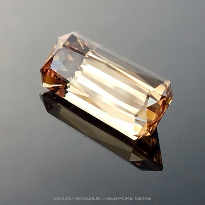 Apricot Sapphire, Rectangle Scissor Cut, Subera, Rubyvale, Central Queensland, Australia, 4.79 Carats, 14.2X6.1X5.08mm, #12112-8, A beautiful natural Apricot Sapphire from the Australian sapphire gemfields. Doug Menadue :: Bespoke Gems :: WWW.BESPOKE-GEMS.COM - Finest Precision Custom Gemcutting Based In Sydney Australia