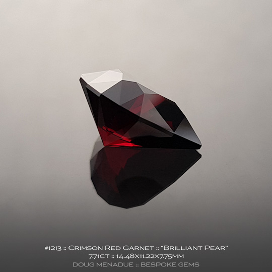 #1213, Garnet, Brilliant Pear, 7.71 Carats, 13.16X13.11X10.41mm, Crimson Red - A beautiful natural Garnet from the gemfields of Africa - Doug Menadue :: Bespoke Gems :: WWW.BESPOKE-GEMS.COM - Finest Quality Precision Custom Gemcutting and Lapidary Services Based In Sydney Australia