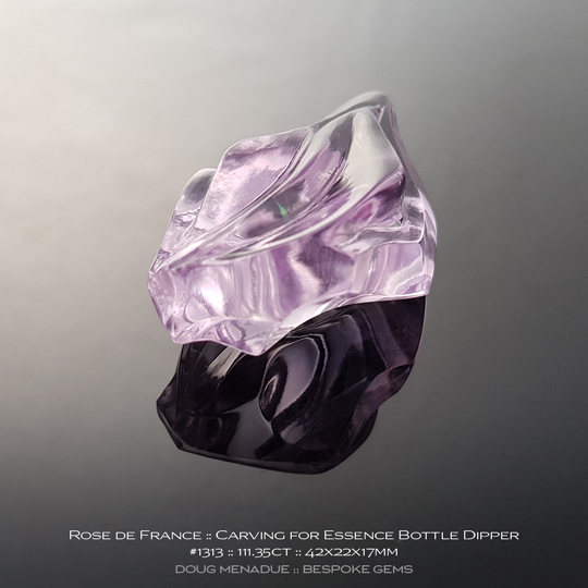 #1313, Lavender Purple Rose de France Amethyst, Carving, 111.35 Carats, 13.16X13.11X10.41mm - Doug Menadue :: Bespoke Gems - WWW.BESPOKE-GEMS.COM - Precision Gemcutting and Lapidary Services In Sydney Australia