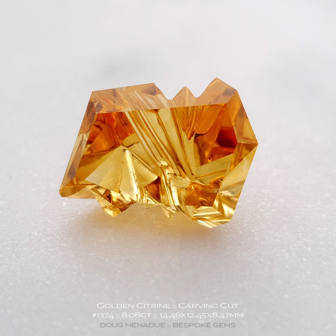 #1374, Golden Yellow Golden Citrine, Carving Cut, 8.08 Carats, 13.16X13.11X10.41mm - Doug Menadue :: Bespoke Gems - WWW.BESPOKE-GEMS.COM - Precision Gemcutting and Lapidary Services In Sydney Australia