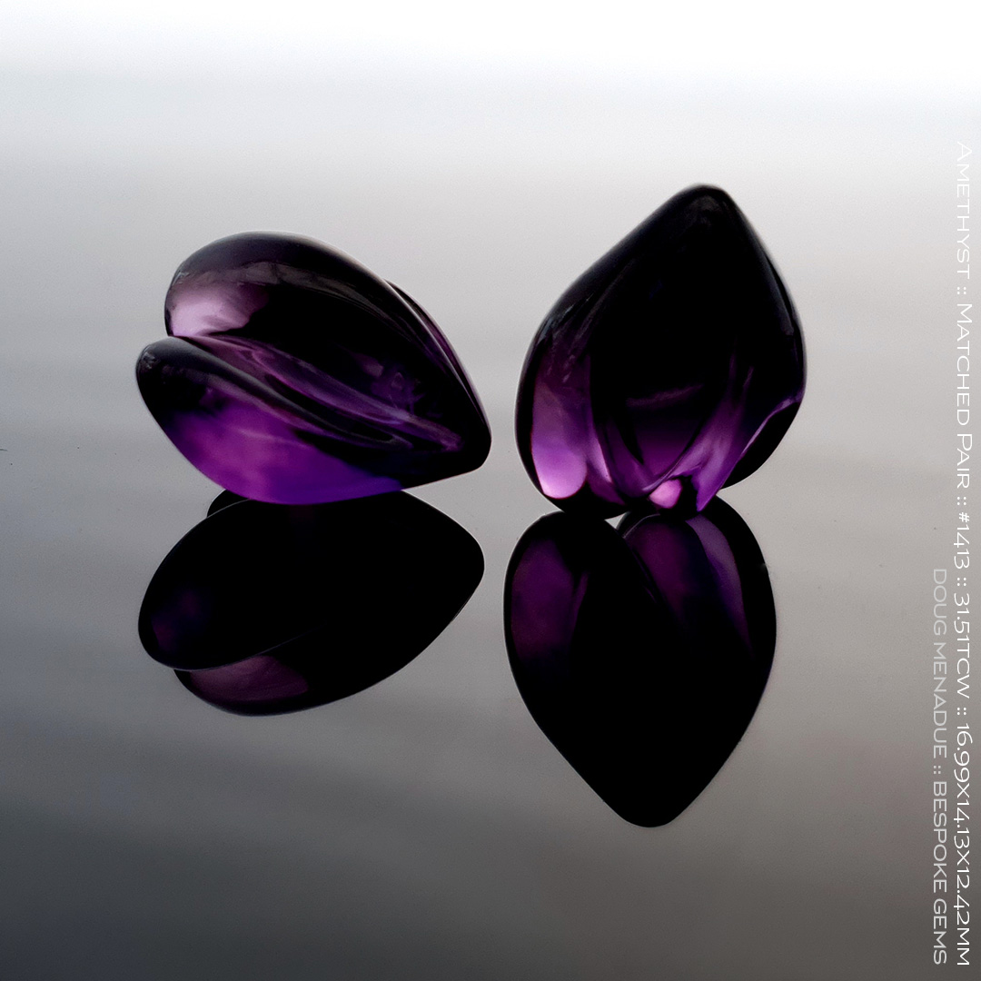 #1413, Purple Amethyst, Matched Pair of Carvings, 15.79, 15.72 Carats, 13.16X13.11X10.41mm - Doug Menadue :: Bespoke Gems - WWW.BESPOKE-GEMS.COM - Precision Gemcutting and Lapidary Services In Sydney Australia