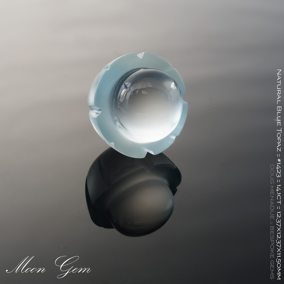 #1423, Blue Natural Blue Topaz, Moon Gem, 14.1 Carats, 13.16X13.11X10.41mm - Doug Menadue :: Bespoke Gems - WWW.BESPOKE-GEMS.COM - Precision Gemcutting and Lapidary Services In Sydney Australia