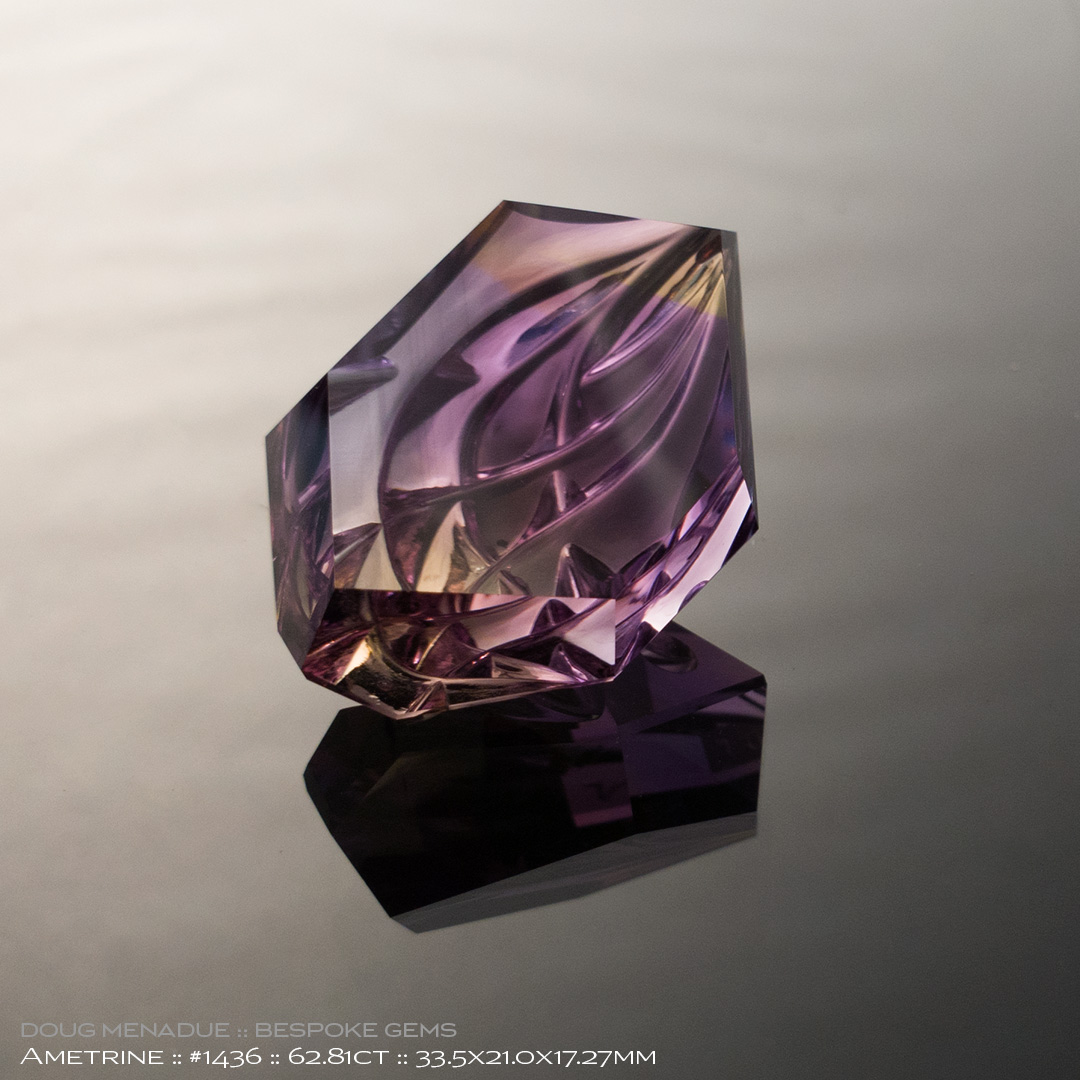 #1436, Yellow Purple Ametine, Mixed Carving, 62.81 Carats, 13.16X13.11X10.41mm - Doug Menadue :: Bespoke Gems - WWW.BESPOKE-GEMS.COM - Precision Gemcutting and Lapidary Services In Sydney Australia