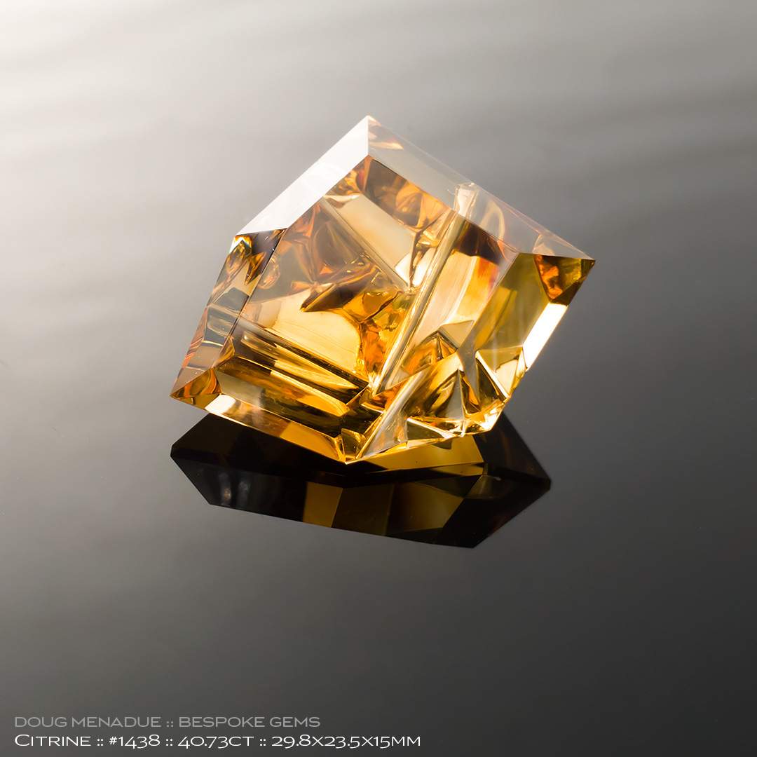 #1438, Smokey Honey Citrine, Mixed Carving, 40.73 Carats, 13.16X13.11X10.41mm - Doug Menadue :: Bespoke Gems - WWW.BESPOKE-GEMS.COM - Precision Gemcutting and Lapidary Services In Sydney Australia
