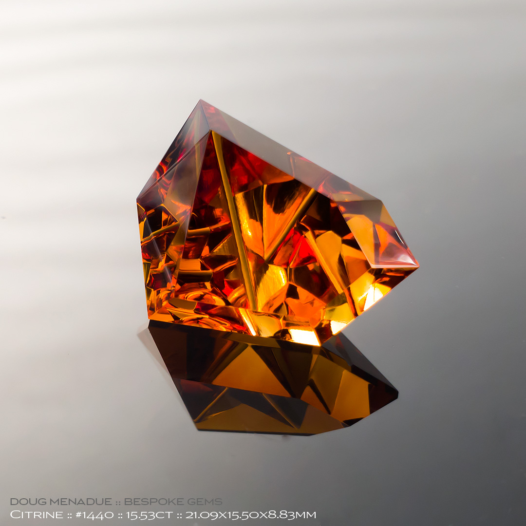 #1440, Maderia Citrine, Mixed Carving, 15.53 Carats, 13.16X13.11X10.41mm - Doug Menadue :: Bespoke Gems - WWW.BESPOKE-GEMS.COM - Precision Gemcutting and Lapidary Services In Sydney Australia