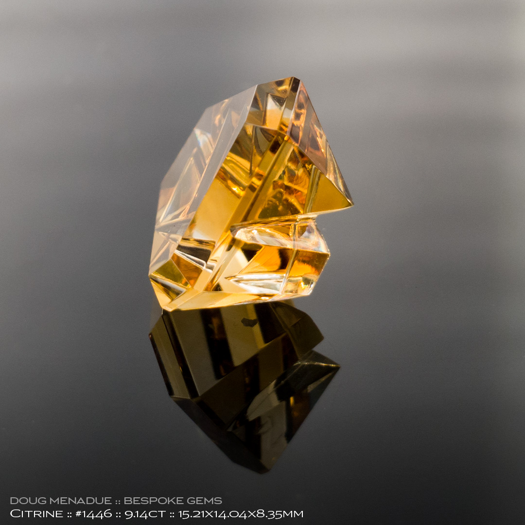 #1446, Golden Yellow Citrine, Mixed Carving, 9.14 Carats, 13.16X13.11X10.41mm - Doug Menadue :: Bespoke Gems - WWW.BESPOKE-GEMS.COM - Precision Gemcutting and Lapidary Services In Sydney Australia