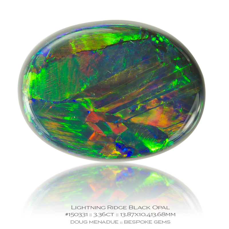 #150331, Orange Green Blue Black Opal, Oval Cab, 3.36 Carats, 13.16X13.11X10.41mm - Doug Menadue :: Bespoke Gems - WWW.BESPOKE-GEMS.COM - Precision Gemcutting and Lapidary Services In Sydney Australia