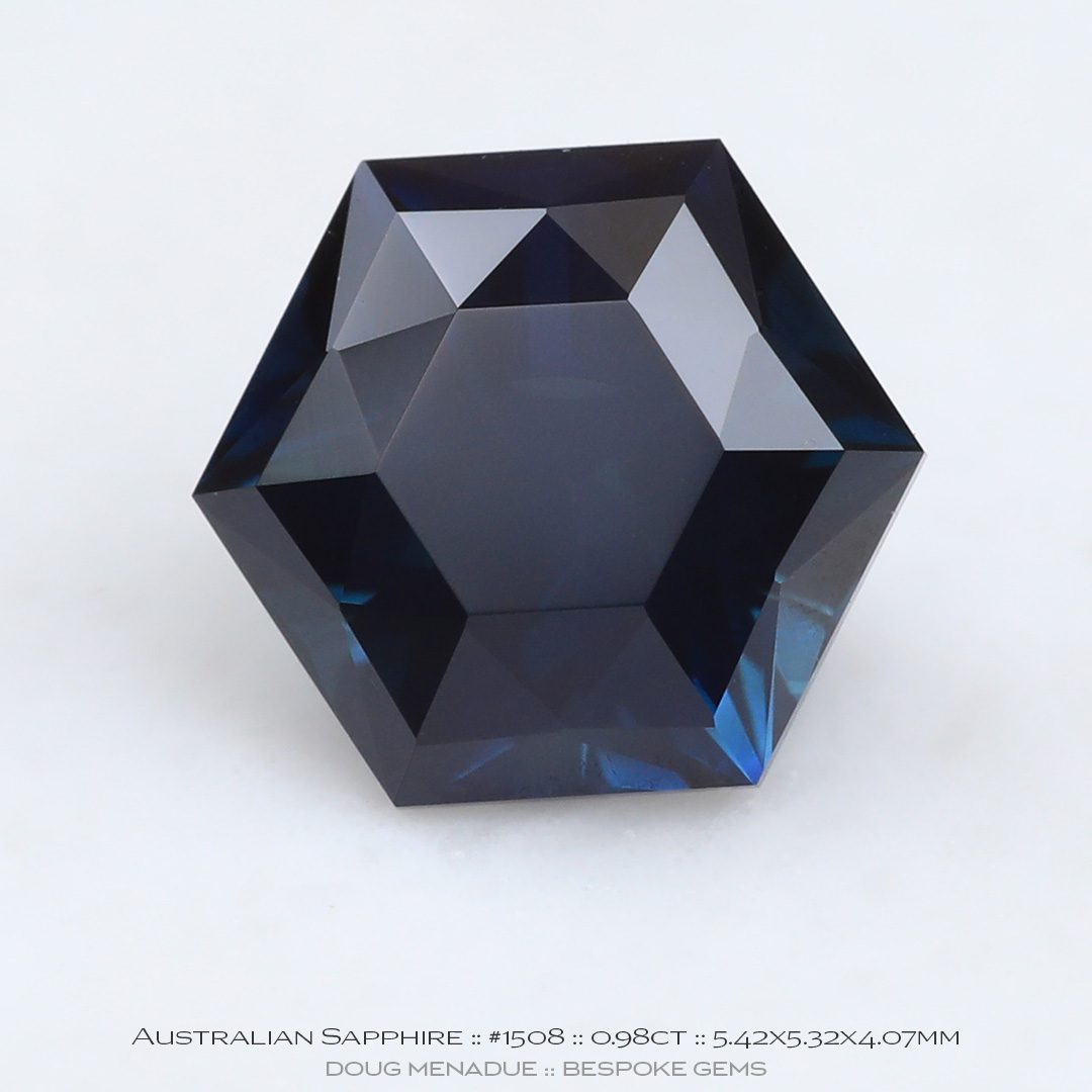#1508, Blue Sapphire, Signature Brilliant Hex, 0.98 Carat - Doug Menadue :: Bespoke Gems - WWW.BESPOKE-GEMS.COM - Precision Gemcutting and Lapidary Services In Sydney Australia