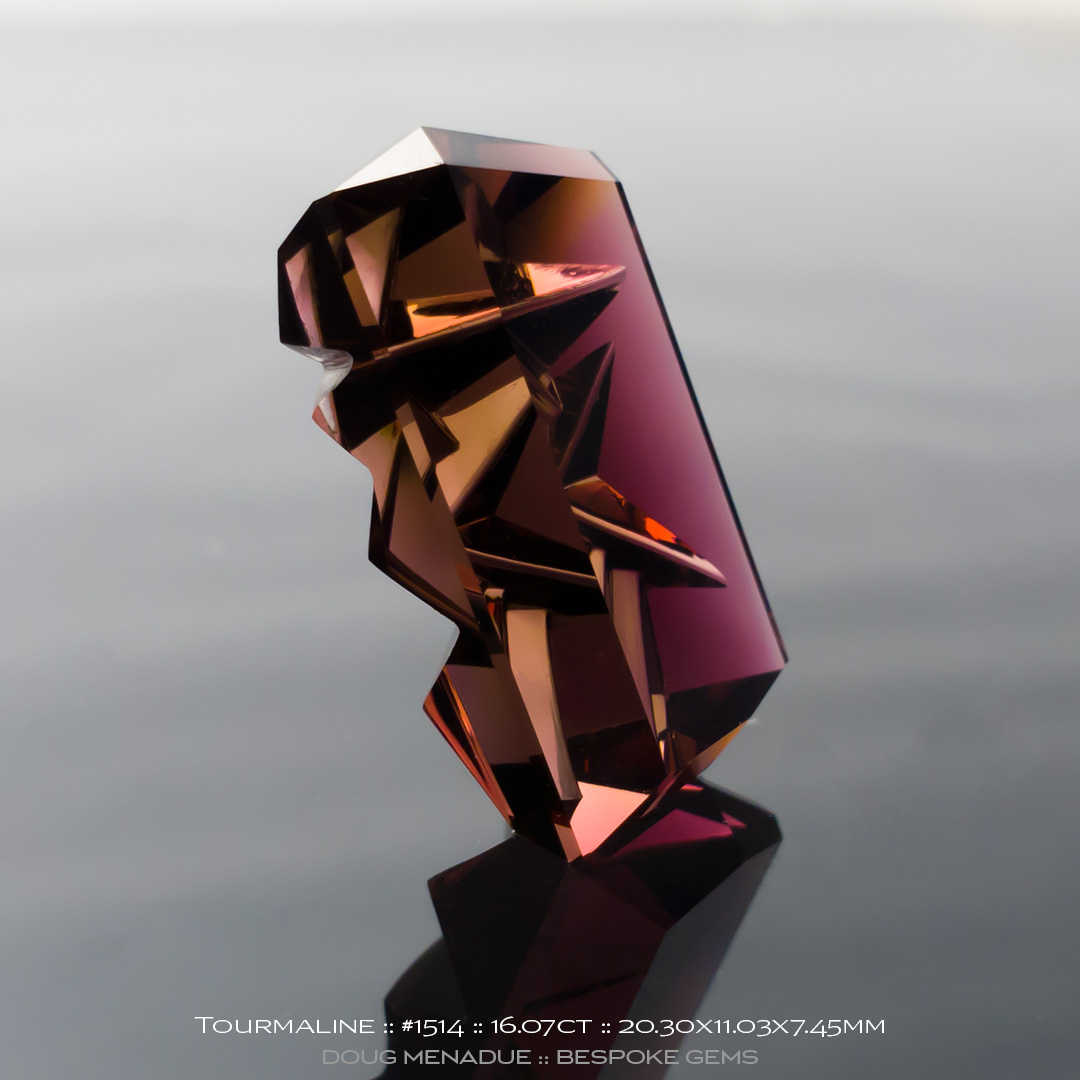 #1514, Peach Pink Tourmaline, Cut and Carved, 16.07 Carat - Doug Menadue :: Bespoke Gems - WWW.BESPOKE-GEMS.COM - Precision Gemcutting and Lapidary Services In Sydney Australia