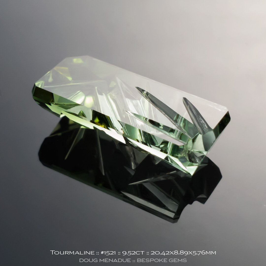 #1521, Green Tourmaline, Cut and Carved, 9.52 Carat - Doug Menadue :: Bespoke Gems - WWW.BESPOKE-GEMS.COM - Precision Gemcutting and Lapidary Services In Sydney Australia