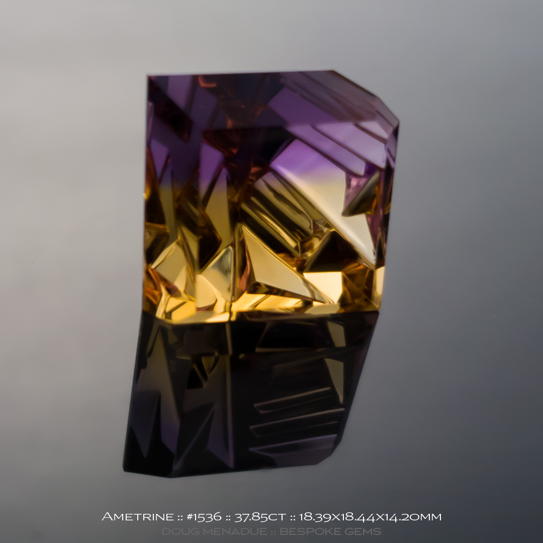 #1536, Ametrine, Sculptural Landscape, 37.85 Carats, 13.16X13.11X10.41mm - Doug Menadue :: Bespoke Gems - WWW.BESPOKE-GEMS.COM - Precision Gemcutting and Lapidary Services In Sydney Australia