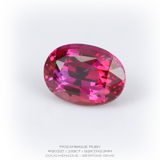 #190327, Pinkish Red Ruby, Oval, 3.19 Carats, 13.16X13.11X10.41mm - A beautiful natural Mozambique Mozambique - Doug Menadue :: Bespoke Gems - WWW.BESPOKE-GEMS.COM - Precision Gemcutting and Lapidary Services In Sydney Australia