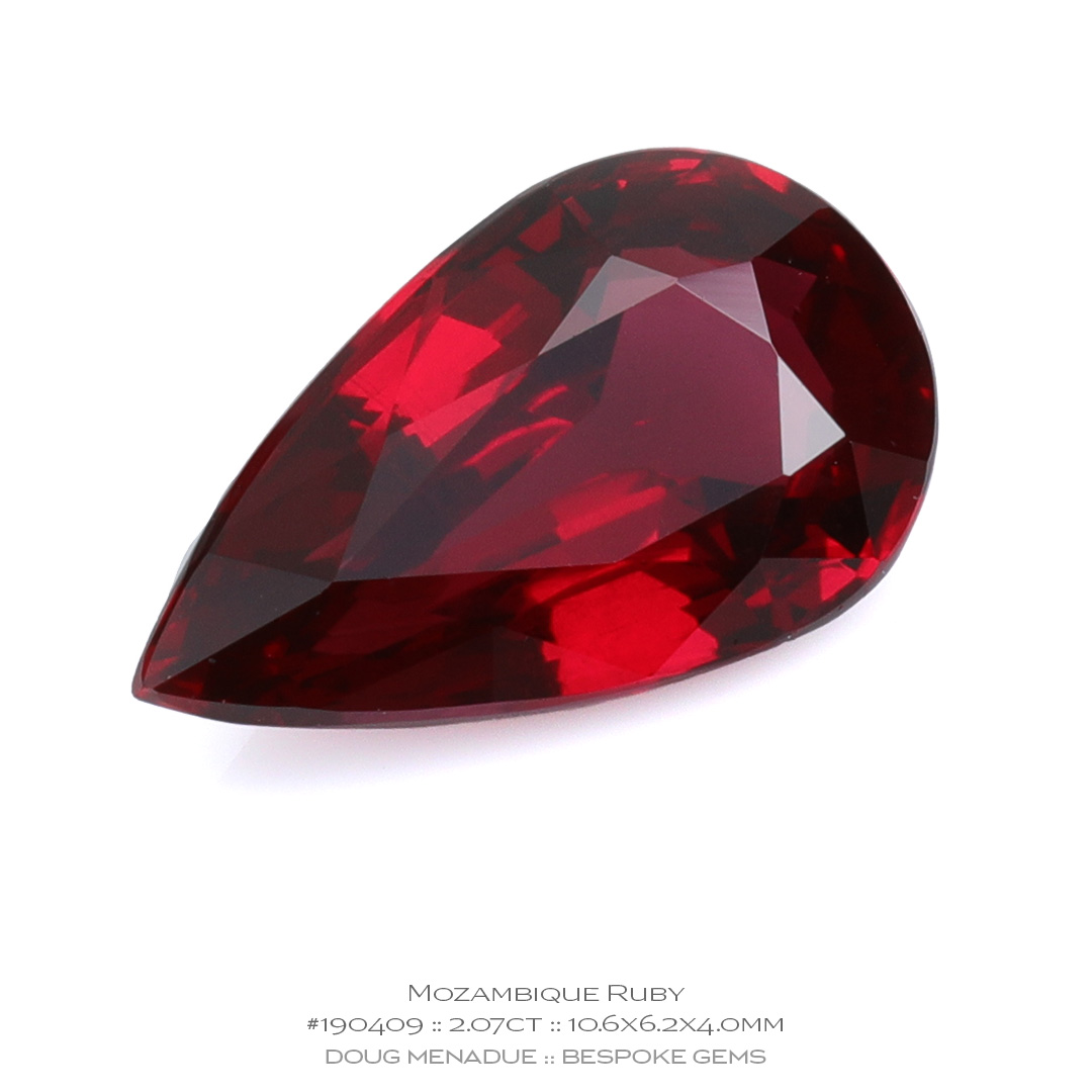 #190409, Red Mozambique Ruby, Teardrop, 2.07 Carats, 13.16X13.11X10.41mm - Doug Menadue :: Bespoke Gems - WWW.BESPOKE-GEMS.COM - Precision Gemcutting and Lapidary Services In Sydney Australia