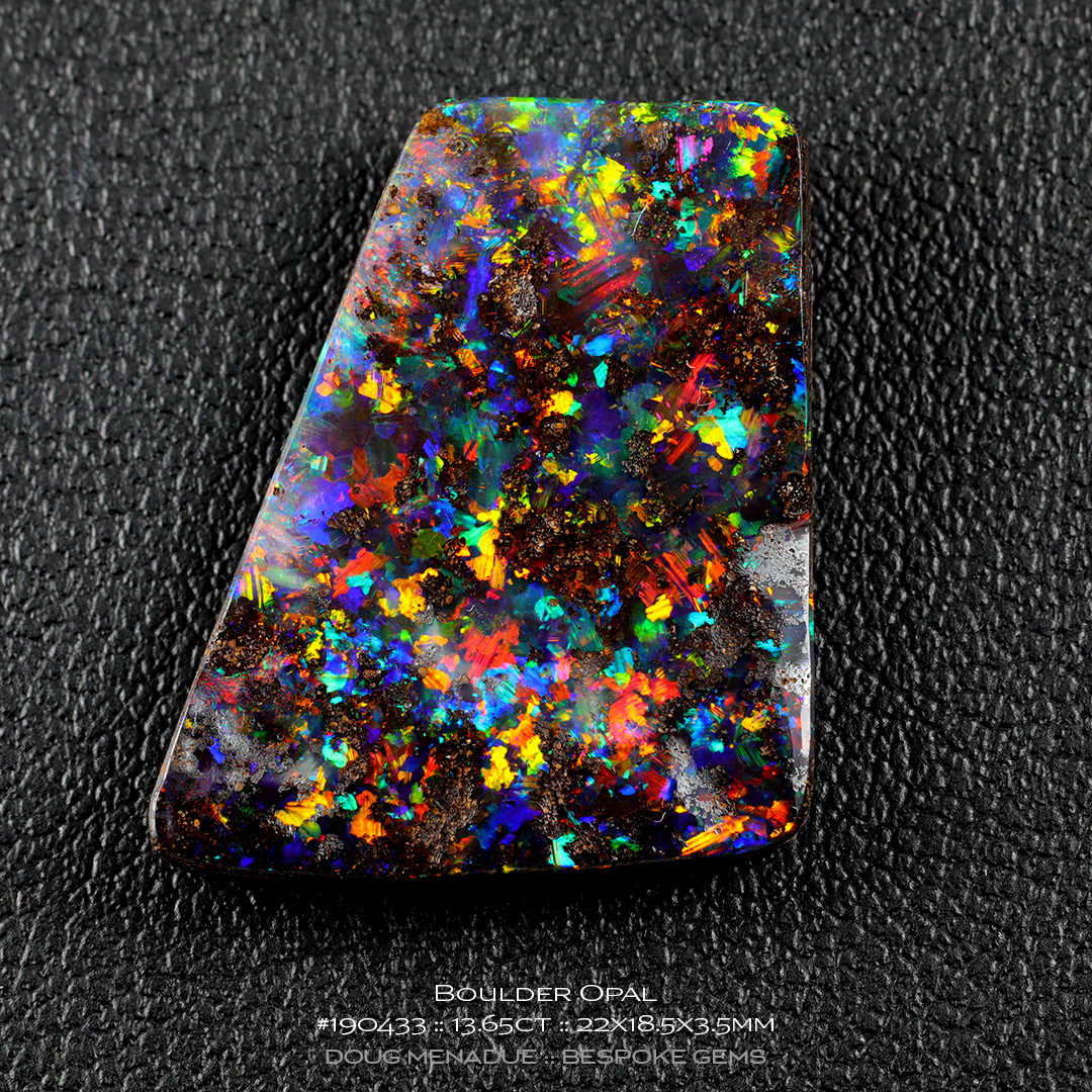 #190433, Full Colour Boulder Opal, Freeform, 13.65 Carats, 13.16X13.11X10.41mm - Doug Menadue :: Bespoke Gems - WWW.BESPOKE-GEMS.COM - Precision Gemcutting and Lapidary Services In Sydney Australia