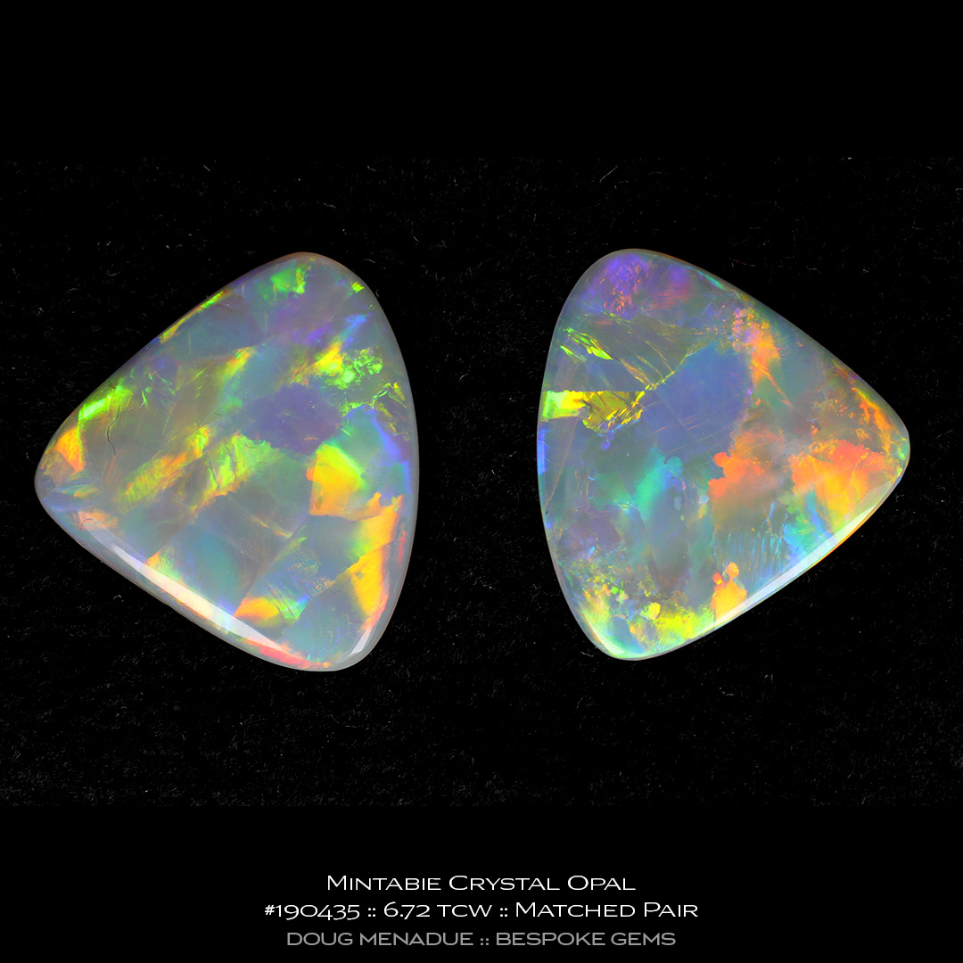 #190435, Full Colour Crystal Opal, Matched Pair of Triangle Cabs, 6.72 Carats, 13.16X13.11X10.41mm - Doug Menadue :: Bespoke Gems - WWW.BESPOKE-GEMS.COM - Precision Gemcutting and Lapidary Services In Sydney Australia