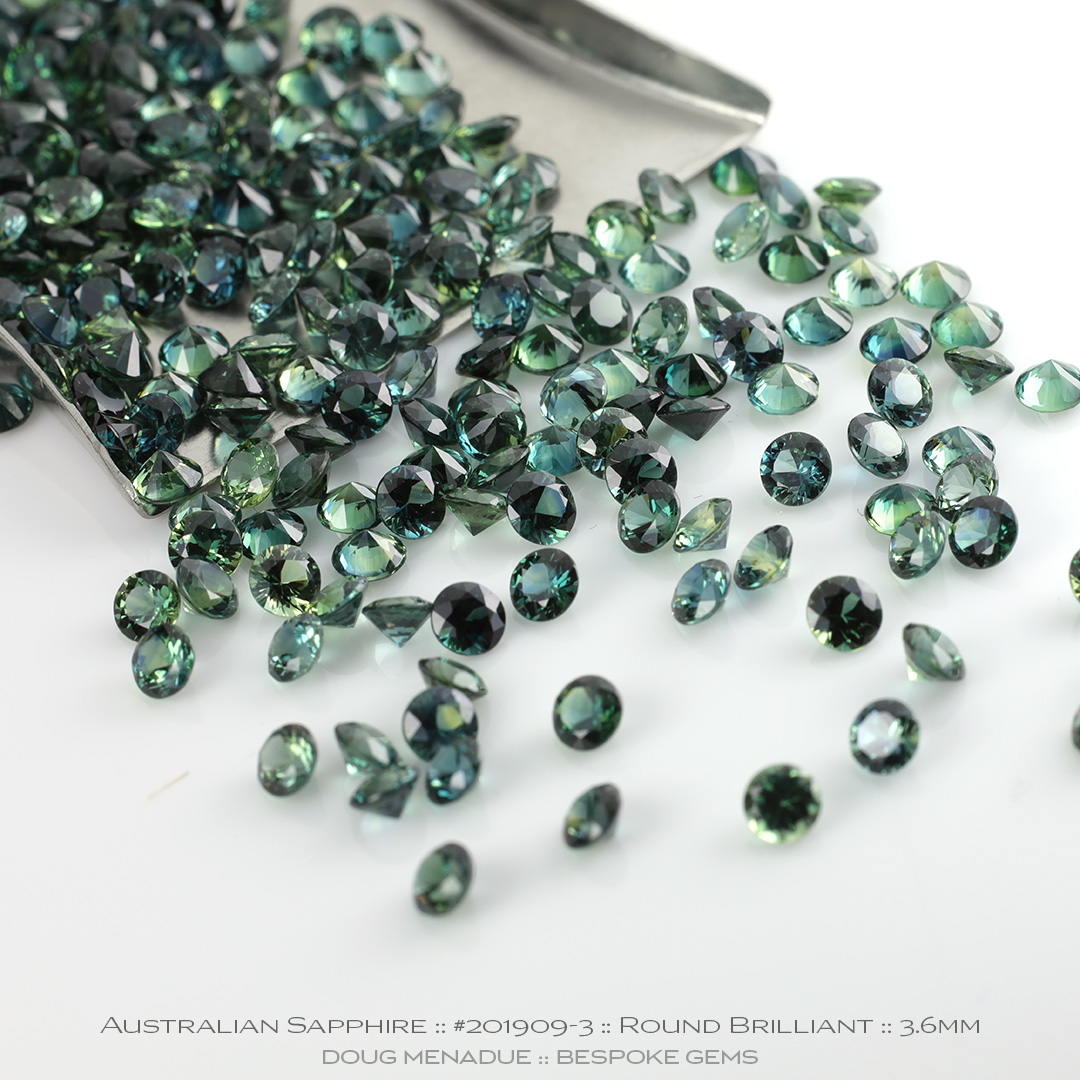 #201909-3, Blue Green Teal Sapphire, Round Brilliant, Average 0.22 Carats - Doug Menadue :: Bespoke Gems - WWW.BESPOKE-GEMS.COM - Precision Gemcutting and Lapidary Services In Sydney Australia