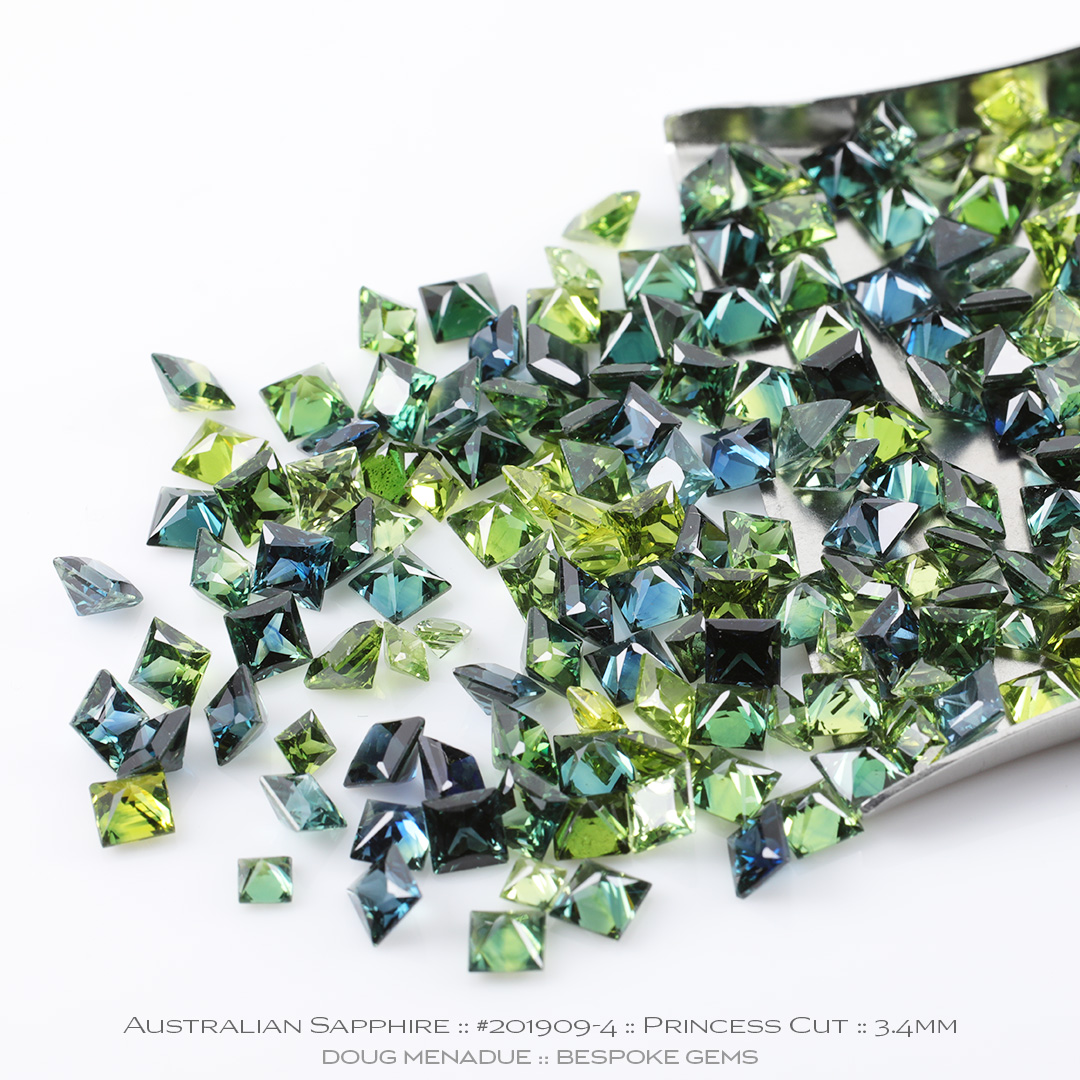 #201909-4, Blue Green Teal Sapphire, Princess Cut, Average 0.28 Carats - Doug Menadue :: Bespoke Gems - WWW.BESPOKE-GEMS.COM - Precision Gemcutting and Lapidary Services In Sydney Australia