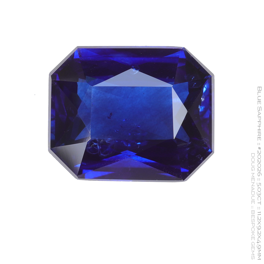 #202026, Blue Sapphire, Radiant Rectangle, 5.03 Carats, 13.16X13.11X10.41mm - Doug Menadue :: Bespoke Gems - WWW.BESPOKE-GEMS.COM - Precision Gemcutting and Lapidary Services In Sydney Australia