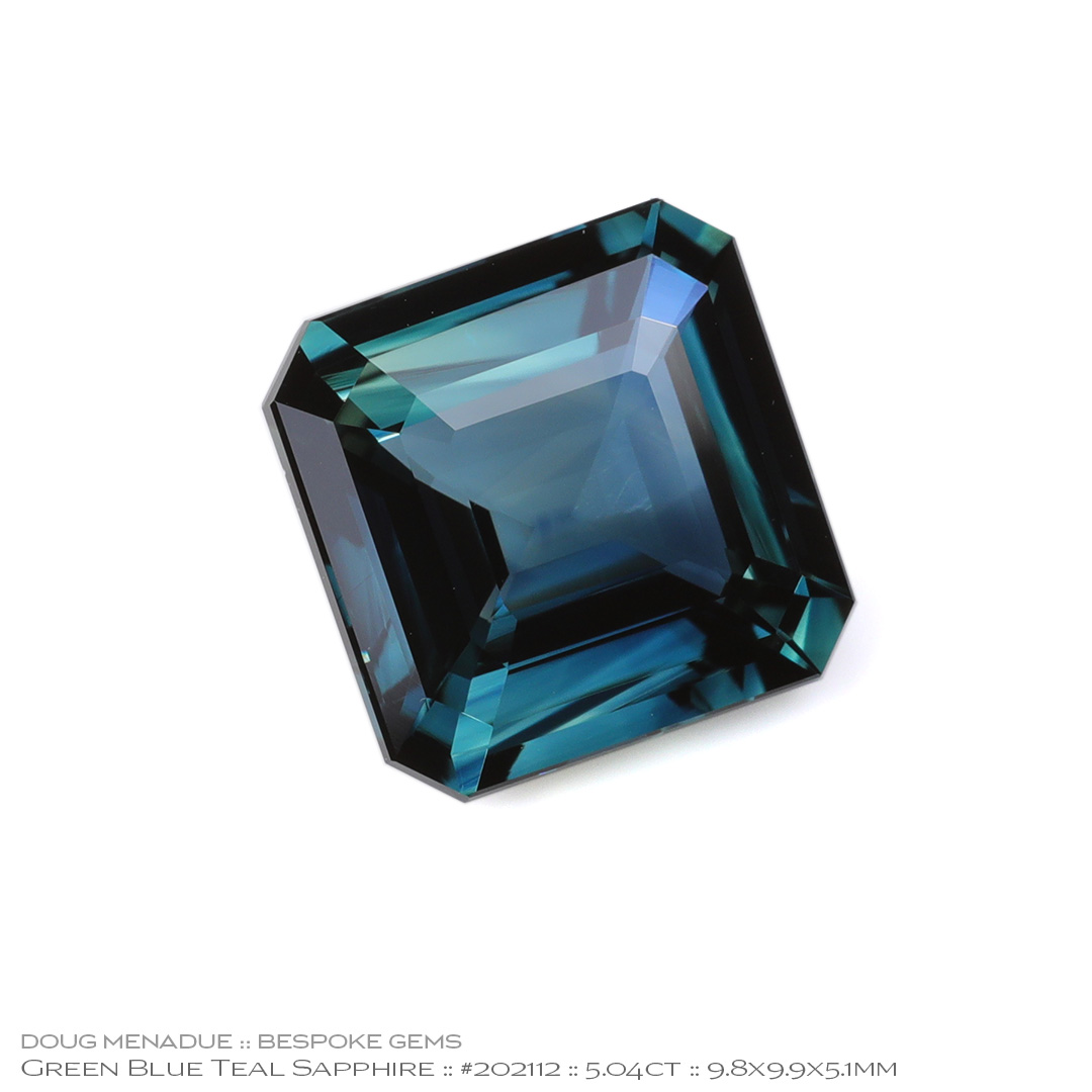 #202112, Blue Green Teal Sapphire, Square Emerald Cut, 5.04 Carats - Doug Menadue :: Bespoke Gems - WWW.BESPOKE-GEMS.COM - Precision Gemcutting and Lapidary Services In Sydney Australia