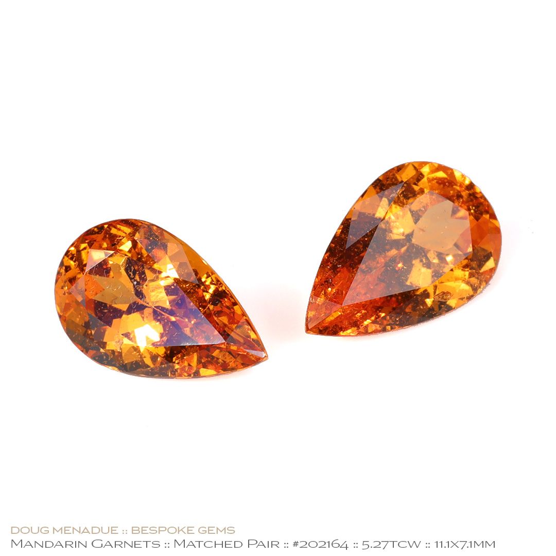 #202164, Mandarin Orange Spessartite Garnet, Matched Pair of Pears, 5.27 Carats, 13.16X13.11X10.41mm - Doug Menadue :: Bespoke Gems - WWW.BESPOKE-GEMS.COM - Precision Gemcutting and Lapidary Services In Sydney Australia