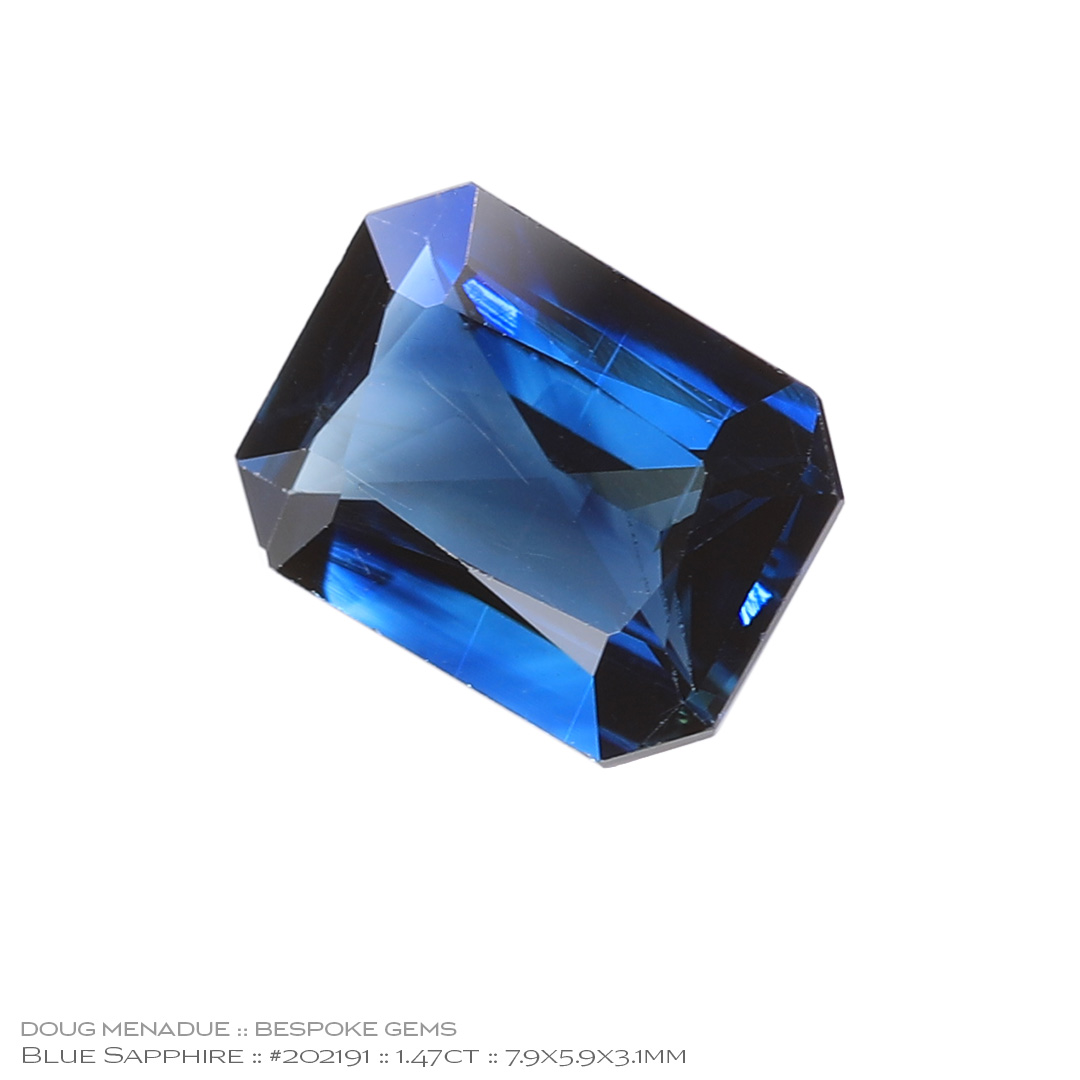 #202191, Blue Sapphire, Rectangle Radiant, 1.47 Carats - Doug Menadue :: Bespoke Gems - WWW.BESPOKE-GEMS.COM - Precision Gemcutting and Lapidary Services In Sydney Australia