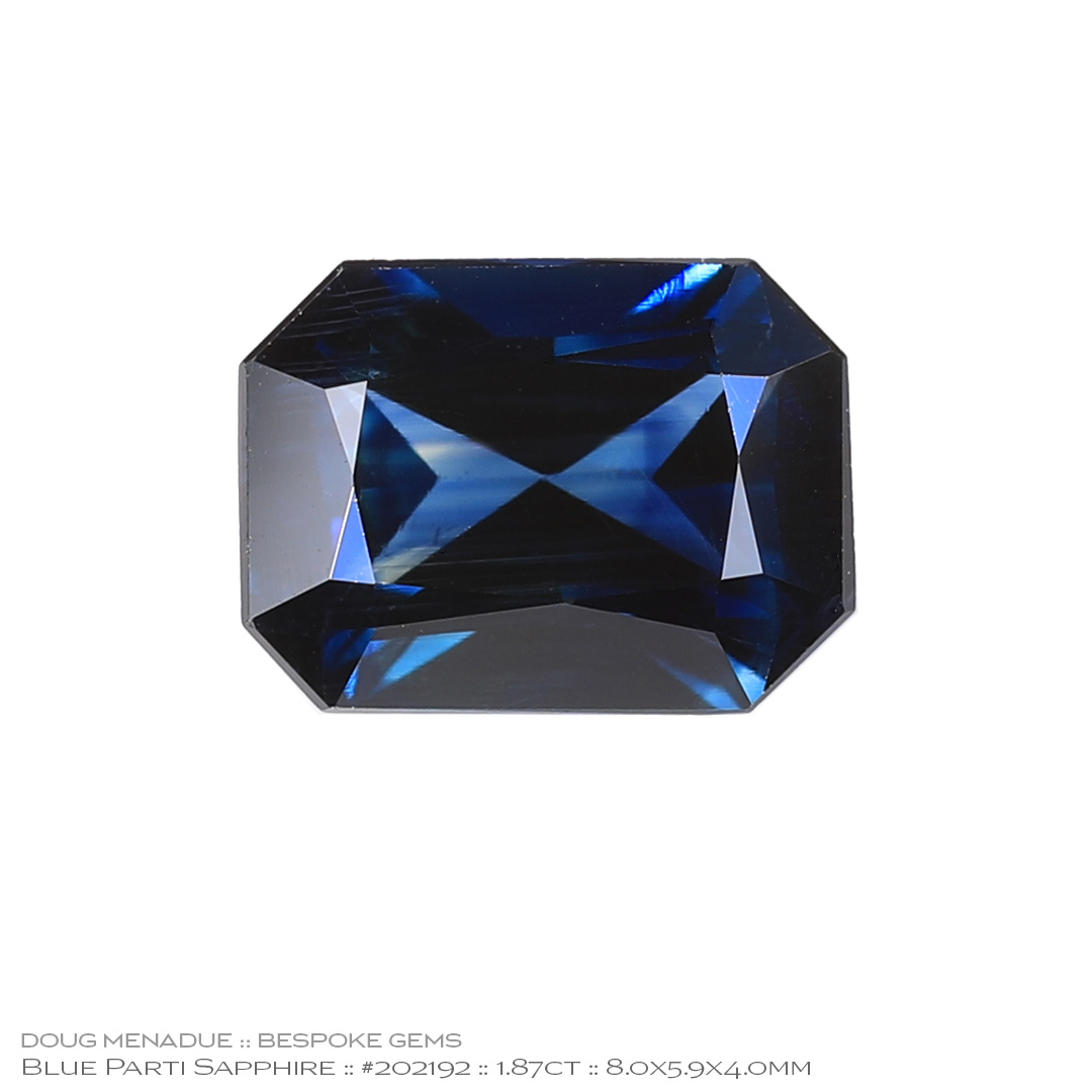 #202192, Blue Parti Sapphire, Rectangle Radiant, 1.87 Carats - Doug Menadue :: Bespoke Gems - WWW.BESPOKE-GEMS.COM - Precision Gemcutting and Lapidary Services In Sydney Australia