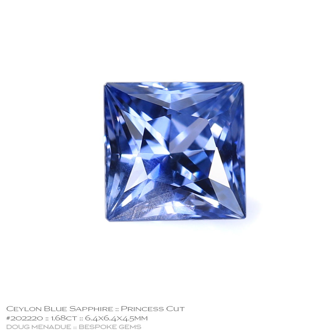 #202220, Blue Sapphire, Princess Cut, 1.68 Carats, 13.16X13.11X10.41mm - Doug Menadue :: Bespoke Gems - WWW.BESPOKE-GEMS.COM - Precision Gemcutting and Lapidary Services In Sydney Australia
