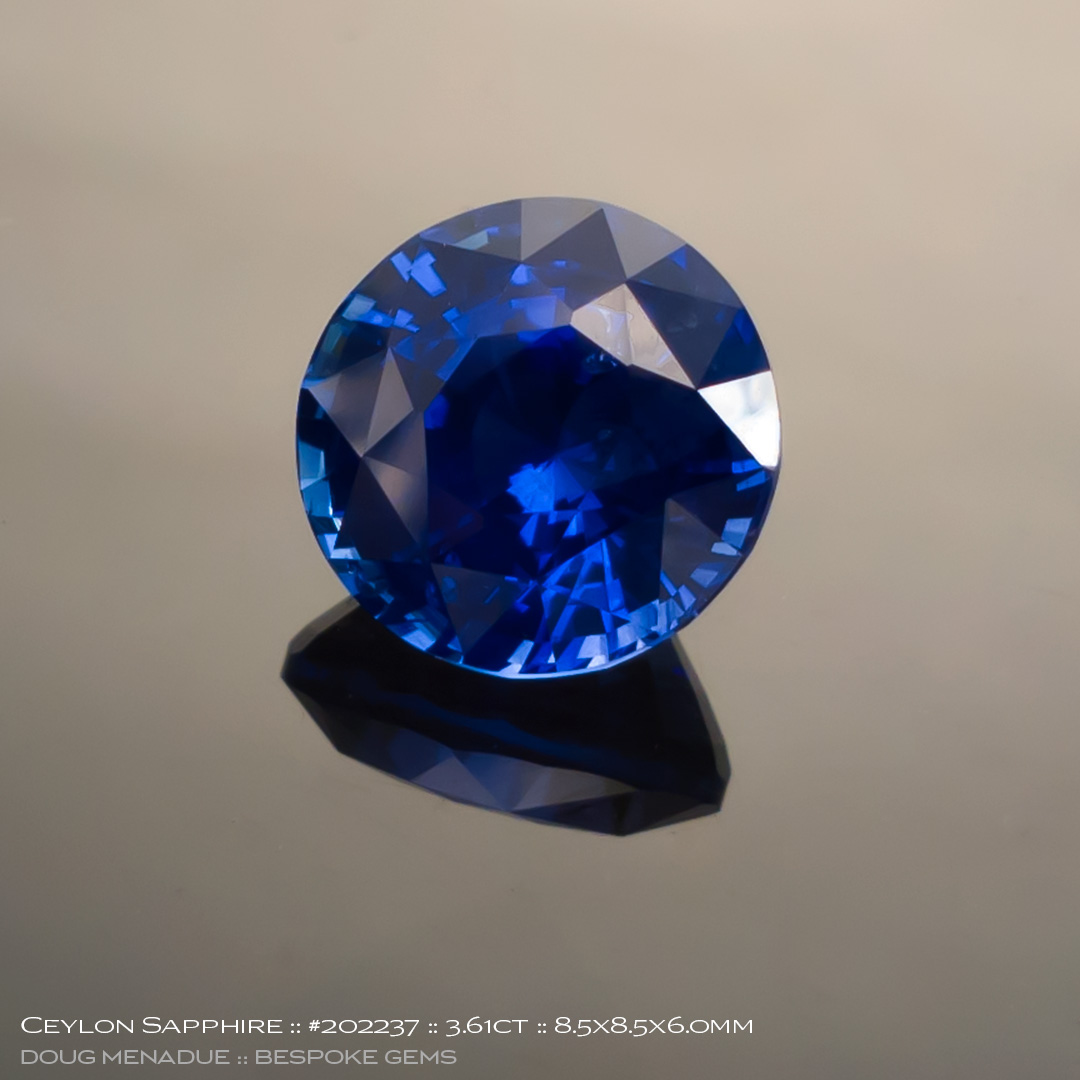 #202237, Blue Sapphire, Round, 3.61 Carats, 13.16X13.11X10.41mm - Doug Menadue :: Bespoke Gems - WWW.BESPOKE-GEMS.COM - Precision Gemcutting and Lapidary Services In Sydney Australia