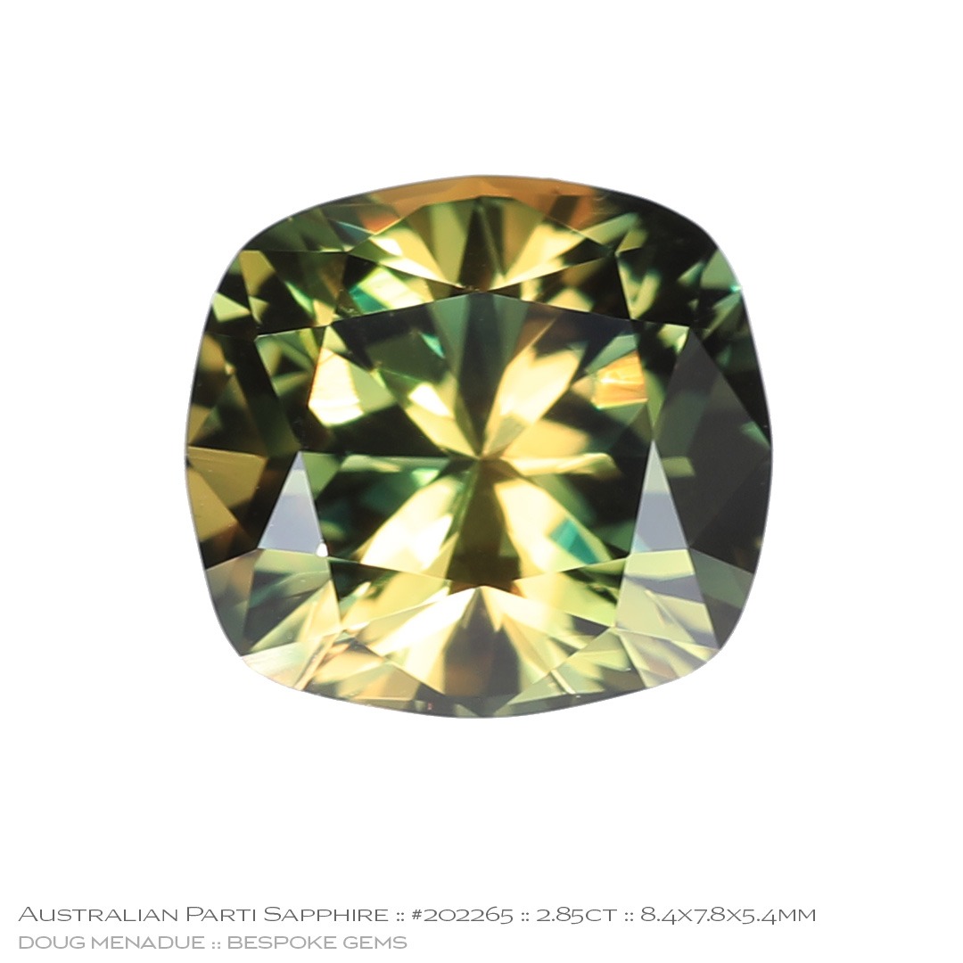 #202265, Yellow Green Parti Sapphire, Cushion, 2.85 Carats - Doug Menadue :: Bespoke Gems - WWW.BESPOKE-GEMS.COM - Precision Gemcutting and Lapidary Services In Sydney Australia