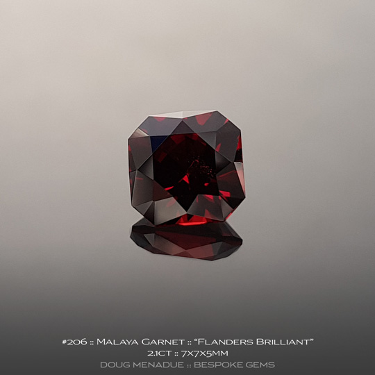 #206, Garnet, Flanders Brilliant, 2.1 Carats, 13.16X13.11X10.41mm, Red - A beautiful natural Garnet from the gemfields of Africa - Doug Menadue :: Bespoke Gems :: WWW.BESPOKE-GEMS.COM - Finest Quality Precision Custom Gemcutting and Lapidary Services Based In Sydney Australia